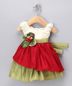This Cream & Red Velvet Dress - Infant, Toddler & Girls is perfect! #zulilyfinds