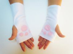 White Paw Print Fingerless Gloves with Pink Paw by TheLuxuryLine, $7.00