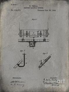 Nikola Tesla's Electric Railway System Patent 1894 Grunge Gray by Paulette B Wright