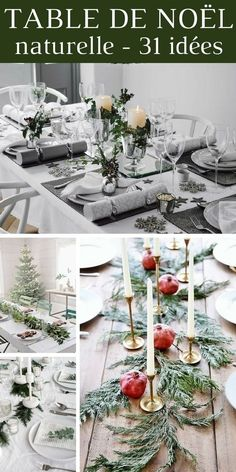 Natural decoration for the Christmas table: the best ideas and the most beautiful inspirations Silver Christmas Decorations, Christmas Diy, Xmas, New Year Table, Deco Table Noel, Holiday Games, Diy Décoration, Decoration Table, Table Settings