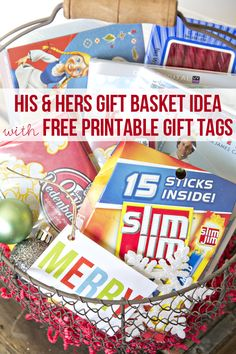Free Printable Gifts Tags and a His & Hers Gift Basket Idea! So cute!! #easygifts #shop #cbias