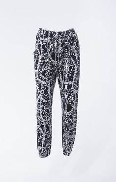 Bold print jogger pants with black contrast back and functional side pockets