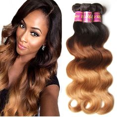 """Brazilian Body Wave Ombre Hair Extensions 16""""-26"""" 4 Bundles Ombre Hair 3 Tone #1B/4/27 Ombre Human Hair Weave"""