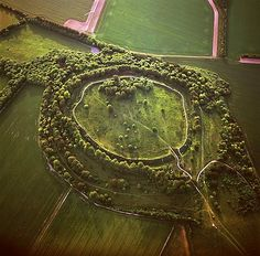 Aerial image of Danebury Ring, an Iron Age hill fort, Wiltshire, England, United Kingdom, Europe