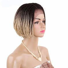 Box Braided Synthetic Lace Front Wig with Ombre Hair