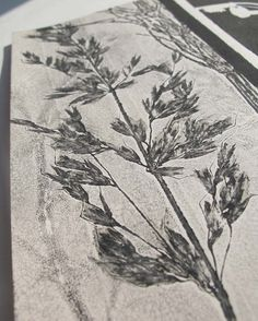 Small original botanical monoprint. Nature print cream paper.Yorkshire Moorland grasses and wild flowers Influenced by vintage Japanese art....