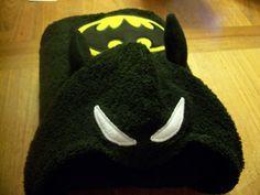 Batman Like Hooded Towel & Puppet Washcloth by NanaBananasGifts, $30.00