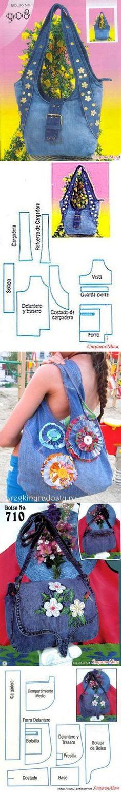 Идеи+выкройки (la costura y el corte) Handbag Patterns, Bag Patterns To Sew, Sewing Patterns, Jean Crafts, Denim Crafts, Patchwork Bags, Quilted Bag, Pochette Diy, Sacs Tote Bags