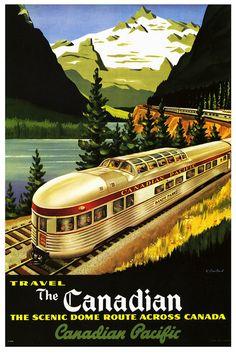 Canadian Pacific Train 1955 ~ Fine-Art Print - Vintage Travel Art Prints and Posters - Vintage Travel Pictures Travel Ads, Travel And Tourism, Train Travel, Travel Guide, Travel Photos, Canadian Pacific Railway, Canadian Travel, Canadian Rockies, Train Posters