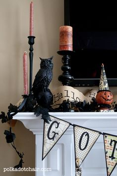 Halloween Mantle Ideas - The Polka Dot Chair...I have the pumpkin...need black candle holders