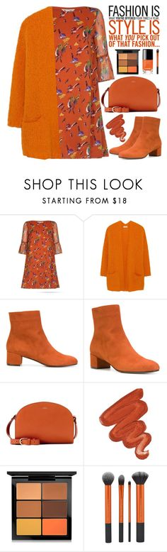 """Monochrome: Pumpkin Spice x"" by jan31 ❤ liked on Polyvore featuring American Vintage, L'Autre Chose, A.P.C., Obsessive Compulsive Cosmetics, MAC Cosmetics, monochrome, autumn, cardigans, anklebooties and pumpkinspice"