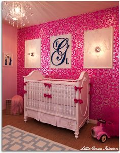 nursury idea for baby girl! kiddy-korner. Love this! Especially since babies love brights!