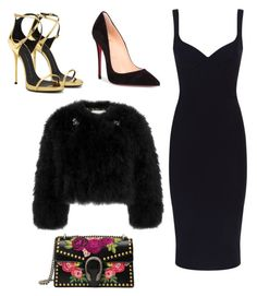 """Untitled #948"" by georgina2610 on Polyvore featuring Gucci, Victoria Beckham, Christian Louboutin, Giuseppe Zanotti and Erdem"