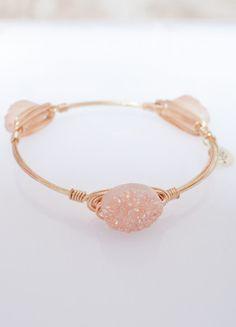 Oval Peach Druzy – DejaVu #accessories #bracelet #dejavu #boutique #opal #gold #feminine #girly #southernstyle