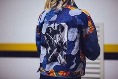 Denim jacket custom with Tropicalia image, flower patches and denim camo pattern by @ceuhandmade