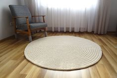 Cream round rug for living room, crochet round rug, boho round rug, nursery rug girl, scandinavian rug, crochet carpet, large round rug,