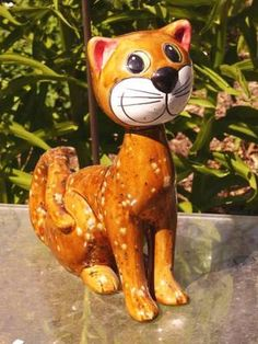 Gartendeko Katze Keramik Gartendekoration sitzt braune Effektglasur  http://stores.ebay.de/Lydia-s-Wohn-Garten-Ambiente_Garten-und-Terasse_W0QQfsubZ253412019
