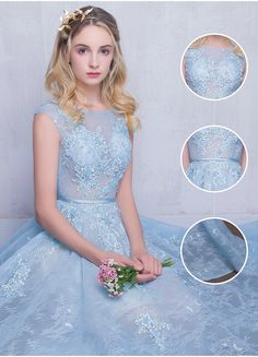 Fairy Sky-Blue Puffy Long Sheer A-line Lace-Appliques Prom Dresses