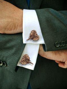 Elephant Cufflinks (Lasercut Wooden Cufflinks) by Vectorcloud