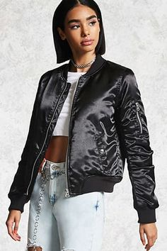 d14f2eb975ae9 Style Deals - A satin padded bomber jacket featuring a ribbed trim, slanted  front welt pockets with snap-button closures, a zip-up front, and a  zippered ...