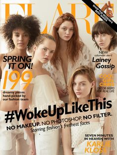 Flare March 2015 Cover Hair by Justin German Nails by Leeanne Colley Photography by Peter Ash Lee Models (L to R): Sasha Hronis, Elmer Olsen Models Charlotte Mingay, Sutherland Models Sophie Touchet, Sutherland Models Jenna Lenfesty-Castilloux, Sutherland Models Shelby Furber, Elmer Olsen Models