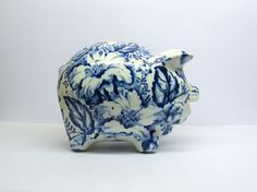 SOLD -- $35 Vintage pottery PIGGY BANK Blue Toile Transferware by nanberrysoda