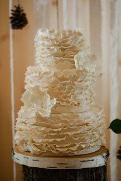 Vintage Rustic Wedding With White Ruffle Wedding Cake   Sophie Asselin Photographie on @StorybrdWedding via @aislesociety