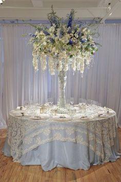 Preston Bailey wedding flowers and table setup ♥ Marquee Decoration, Reception Decorations, Event Decor, Event Ideas, Party Ideas, Flower Centerpieces, Wedding Centerpieces, Flower Arrangements, Chandelier Centerpiece