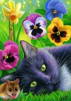 ACEO original cat mouse grasshopper pansy daffodil spring garden painting art ACEO original ca Garden Painting, Painting Art, Garden Art, Animal Gato, Cat Mouse, Cat Drawing, Beautiful Cats, Pansies, Cat Art