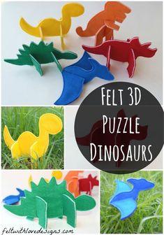DIY & Crafts : Felt Puzzle Dinosaurs Pattern Release - Felt With Love Designs Dinosaur Crafts, Dinosaur Party, Dinosaur Dinosaur, Projects For Kids, Craft Projects, Crafts For Kids, Diy With Kids, Festa Jurassic Park, Felt Crafts