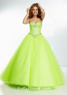 ac279300e2f Ball Gown Sweetheart Green Tulle Beaded Crystal Quinceanera Prom Dress  Corset Back Strapless Homecoming Dresses