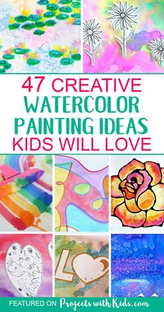 These watercolor painting ideas will inspire you and your kids to create and have fun! There are so many creative ideas for kids of all ages, you are sure to find one (or more!) that your kids will want to try. Click through to find ideas for kids of all Watercolor Art Kids, Watercolor Art Paintings, Watercolor Projects, Painting Art, Watercolors, Projects For Kids, Art Projects, Crafts For Kids, Art Videos For Kids