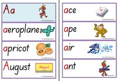 The word-picture flash cards have a highlighted initial Aa prompt. The printable word cards begin with uppercase (capital) letters and lowercase letters. One Letter Words, Alphabet Words, English Alphabet, English Writing, Fruit Picture, Cute Messages, Word Pictures, Lower Case Letters, Teaching Resources