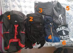 1-40 lt. çanta(Kıyafet ve sık kullanılmayacak eşyalar için)  2-40lt. çanta(Bölmeli olması aranılanı kolay bulmayı sağlıyor)  3-Yağmur geçirmez pantolon 4-Yağmurluk 5-Fermuarlı sweatshirt 6-Sweatshirt (Kalın olmasında yarar var)