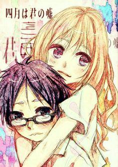 Kousei, Kaori, text, blushing, couple; Your Lie in April