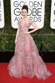 Golden Globes 2017: all the celebrity dresses from the red carpet. Lily Collins in Zuhair Murad