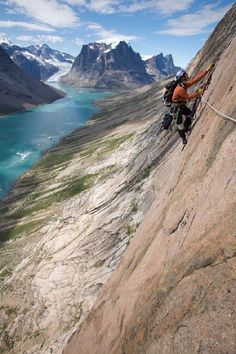 Climbing in Greenland. #MeetTheMoment