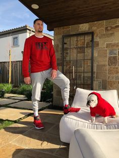 Klay Thompson And Rocco Golden State Basketball, Basketball Players, Clay Thompson, Thompson Warriors, 2018 Nba Champions, Stephen Curry Basketball, Curry Warriors, Splash Brothers, Christian Yelich
