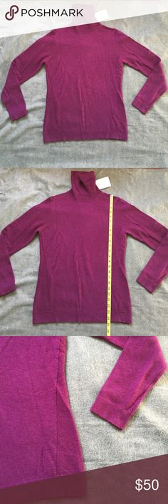 Kinross 100% Cashmere M new with tags Kinross 100% Cashmere M new with tags beautiful color mix of purple and dark pink turtleneck, ends of arms, and bottoms have a small ribbed finish. Kinross Cashmere Sweaters Cowl & Turtlenecks