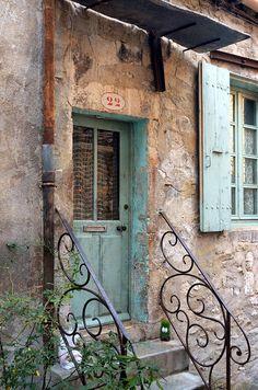Blue Door -Viviers, France ᘡղbᘠ. Old wooden door, fence, brick wall, beauty, crack, weathered, architechture, details, charm, beauty, photo