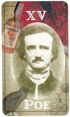Edgar Allan Poe from The Poet Tarot from @TwoSylviasPress   http://twosylviaspress.com/the-poet-tarot.html #poetry #deadpoets #tarotcards