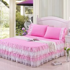 SunnyRain 3 Pieces Candy Color Queen Bedding Set For Girl Luxury Lace Bed  Sheet Set