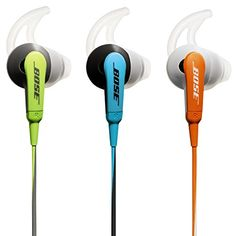 Bose SoundSport In-Ear Headphones for iOS Models, Blue – Wired  SoundSport In-Ear Headphones energize your workout with full, balanced sound that conventional sports earbuds can't match. And because they're sweat-resistant and have proprietary StayHear tips, they survive and stay comfortably in place during vigorous exercises. They come with a matching carrying case and provide easy control for select iPod, iPhone and iPad models. Available in Orange, Blue or Green. What's in the box..
