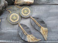 Grey leather earrings. Feather earrings. Boho by VelmaJewelry