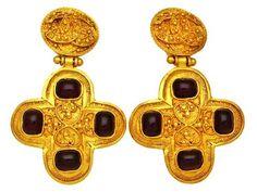 Vintage Chanel earrings CC logo red stone cross dangle