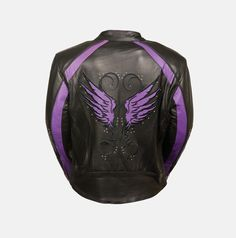 PURPLE EMBROIDERED LEATHER JACKET W STUD & WING