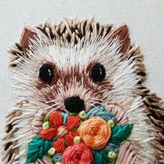 Digital Hand Embroidery Pattern: Hedgehog Thread Painting