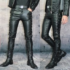 Winter Personality Male Leather Pants Male Slim Leather Pants ...