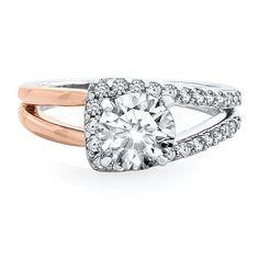 3/8 ct. tw. Diamond Semi-Mount Engagement Ring in 14K White & Rose Gold - 2182646