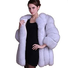 Wome Winter coat warm New Faux Fur coat outerwear women's fashion fur coat (S, White) ** Click image to review more details.